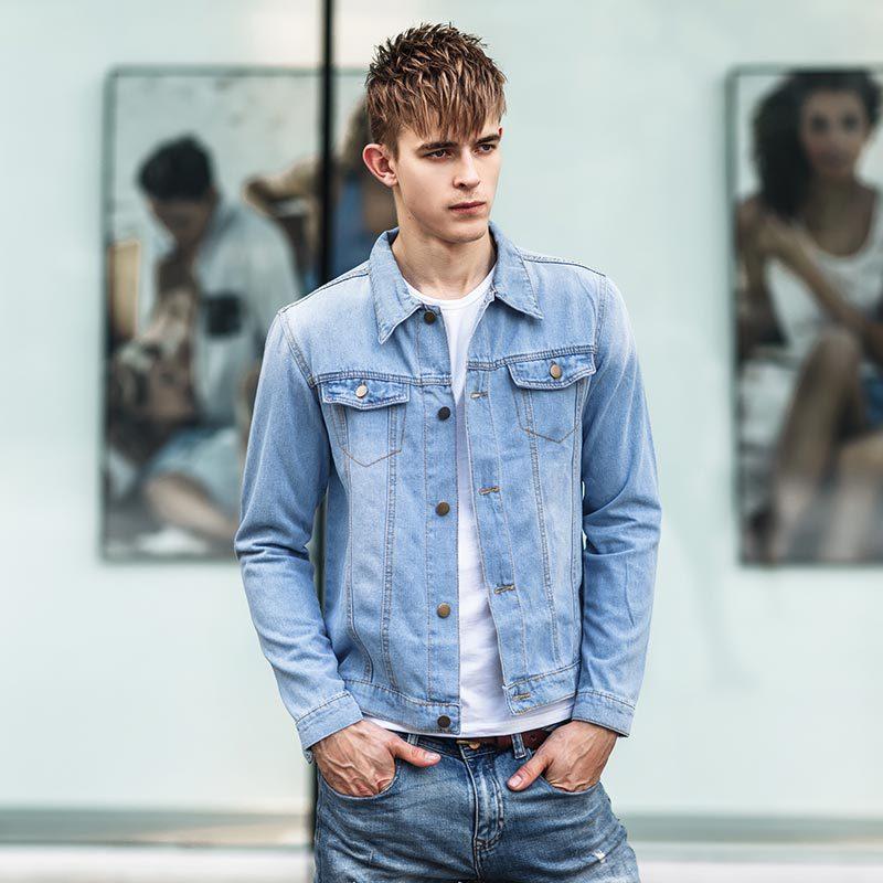 2015 New Style Fashion Denim Jacket Men Dark Blue Light Blue Black