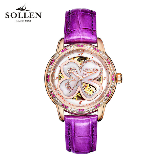 Top luxury Brand SOLLEN Ladies Watch Automatic Tourbillon Mechanical Watches Women Classic Leather WristWatches Relogio Feminino classic simple star women watch men top famous luxury brand quartz watch leather student watches for loves relogio feminino