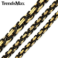 Trendsmax 5/5.5/8mm Wide Byzantine Box Link Black Gold Color Stainless Steel Necklace Mens Chain Wholesale Jewelry KNM18
