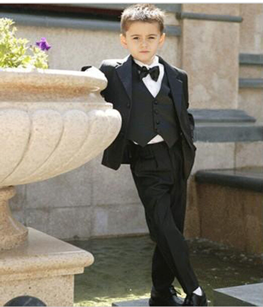 Two Button Children Blazer Notched Lapel Boy Suit Kids Wedding/Prom Suits three piece Boy Tuxedos (jacket+vest+pants+tie)