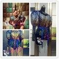 Vestido de festa de dança cantor show de desempenho fêmea traje moda dj cantora ds traje de uma peça foto