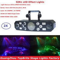 2XLot Free Shipping 5IN1 Laser Flash Strobe Butterfly Derby LED Stage Effect Lighting 100 240V Professional Dj Shows Equipments