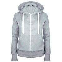 Nice Ladies Women Men Unisex Plain Zip Up Hooded Sweatshirt Coat Zipper Jacket Top Overcoat Outerwear