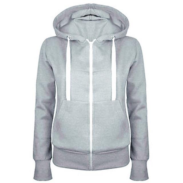aca5c26e4 Nice Ladies Women Men Unisex Plain Zip Up Hooded Sweatshirt Coat ...