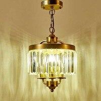 American Style K9 Crystal Chandelier Vintage Iron Lighting Fixture For Bedroom The Entrance Hallway Lights Restaurant