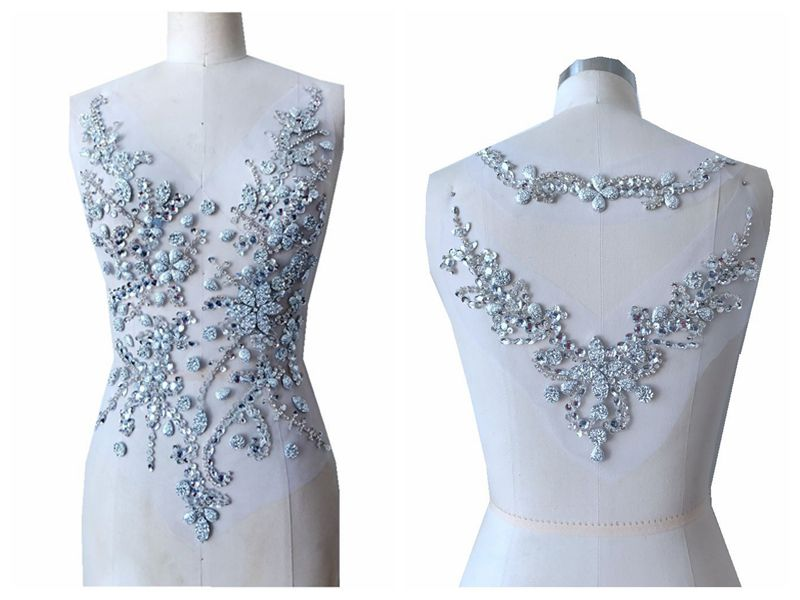 handmade crystal patches sew on silver rhinestones applique on mesh trim for dress front and back