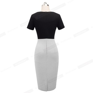 Image 3 - Nice forever Vintage Elegant Contrast Color Patchwork Work Ring vestidos Business Party Bodycon Office Women Sheath Dress B497