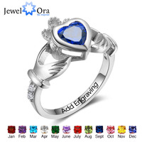 925 Sterling Silver Claddagh Rings Heart Customized Birthstones Rings Irish Love& Friendship Jewelry JewelOra RI102799