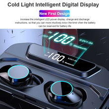 G02 TWS 9D Bluetooth 5.0 Stereo Earphone Wireless Headset with Microphone IPX7 Waterproof LED Energy Screen 3300 mAh Power Bank
