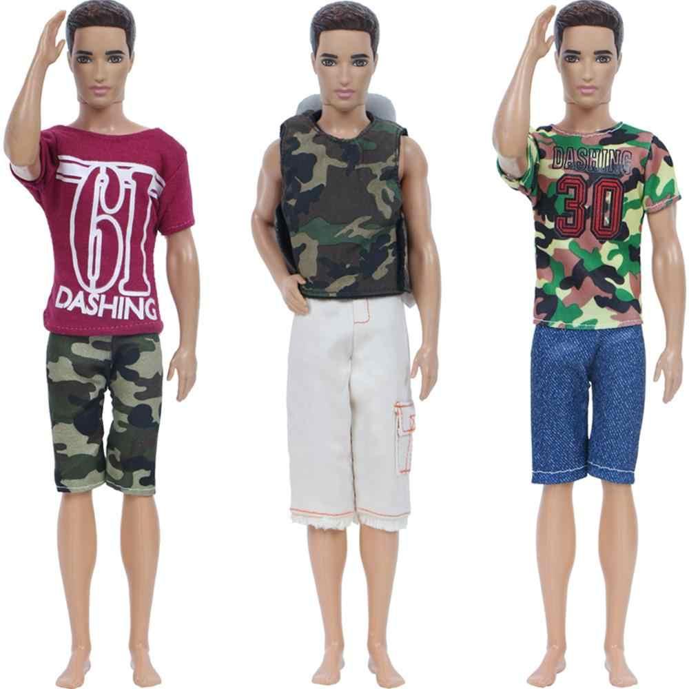 1 ชุดสุ่มชุดสวมใส่ทุกวันกางเกงกางเกงขาสั้นเสื้อยืดผู้ชาย Cool ฤดูร้อนอุปกรณ์เสริมเสื้อผ้าสำหรับตุ๊กตาบาร์บี้ Ken ของเล่น