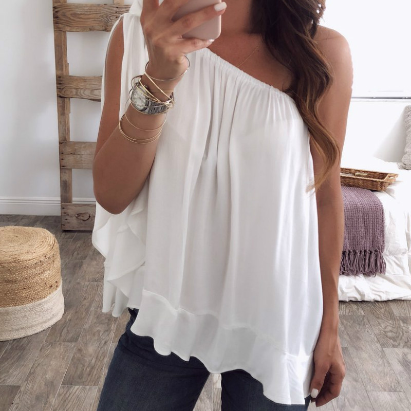 Summer Plus Size Womens Tops and   Blouses     Shirt   Chiffon Sexy Skew Collar Sleeveless Draped Solid Casual Blusas Mujer De Moda 2019