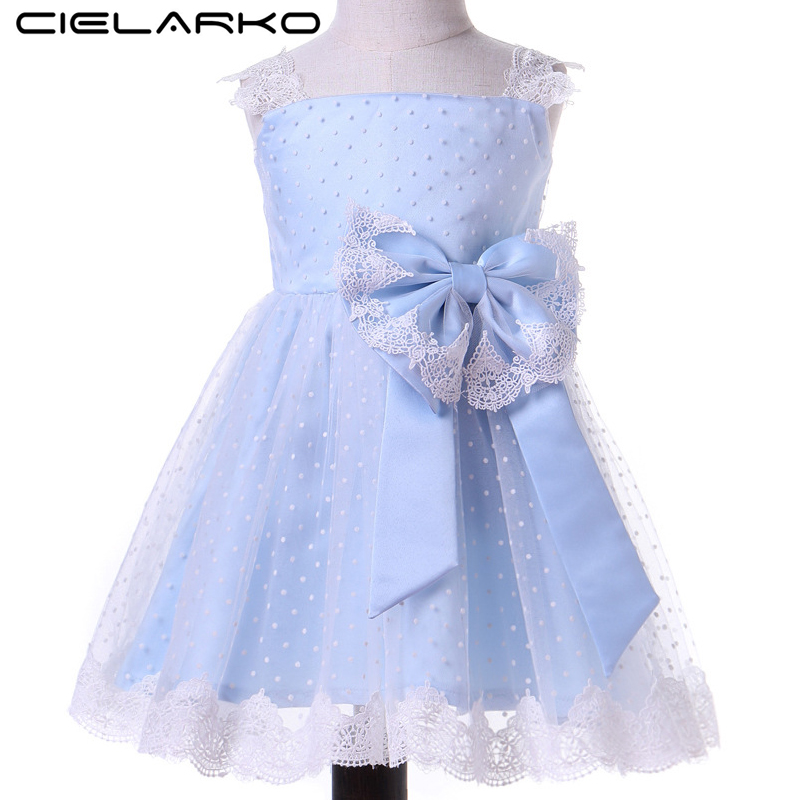 Cielarko Baby Girls Lace Dress Elegant Tulle Toddler Party Dresses Blue Kids Summer Formal Frocks Bow Polka Dot Clothes for Girl spring summer 2018 children girl clothes sequined top red sky blue purple princess formal girls hot pink dresses tulle bow