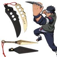 2pcs/set Naruto Sarutobi Asuma Hatake Kakashi Kunai Knife Weapons With Leather Case Cosplay Toys Gift For Kids Adults #E