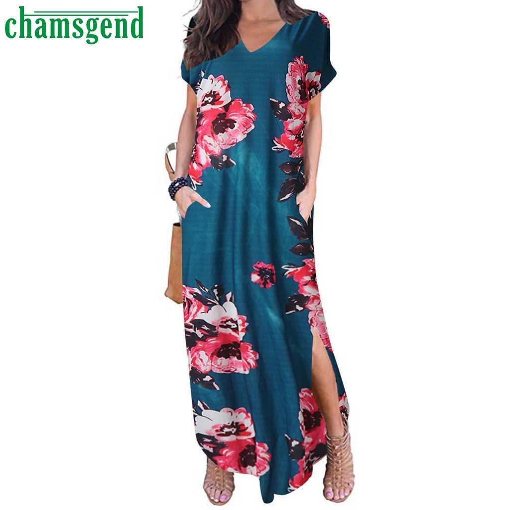 Chamsgend mùa hè sexy Cổ Chữ V tay Ngắn Áo thời trang Họa Tiết Áo Dài Đầm maxi Nữ Vestidos de Fiesta #