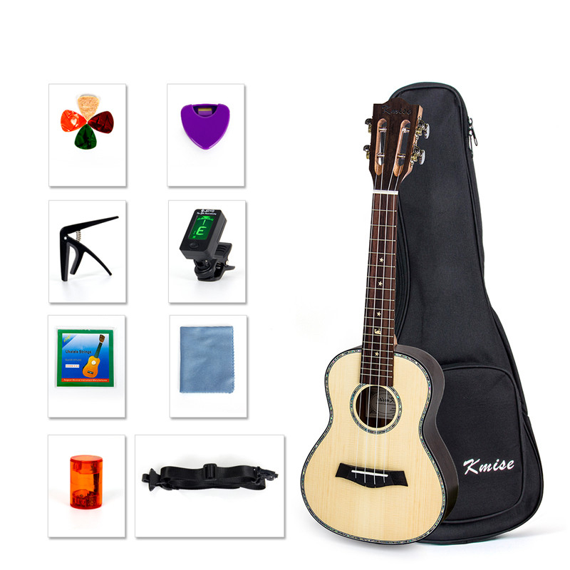 Kmise Concert Ukulele Solid Spruce Ukelele Classical Guitar Head 23 Inch Uke Beginner Kit With Gig Bag Tuner Strap String Picks