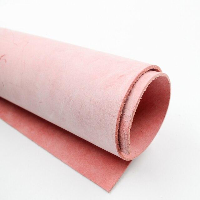 Кожа с воском Натуральная кожа около 2,0 мм коровьей старинные Размер 5 цвет розовый