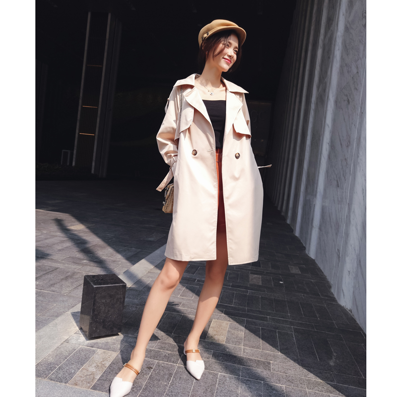 2019 New Korean style Embroidery Overcoat high Waist Coat Women's clothes Spring and Autumn   trench   coat MX17C7311