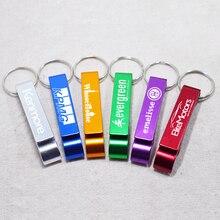 Inciso In Metallo Portachiavi portachiavi Personalizzato Bottiglia di Alluminio Opener Testo Personalizzato Logo Promozionale Portachiavi Personalizzato Regalo 50pcs