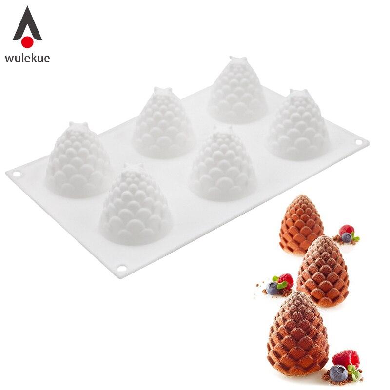 Wulekue 3D Gâteau Décoration Outils Silicone Moules 6 Trous Des Pommes de Pin Forme Outil de Cuisson Pour Gâteaux au chocolat Mousse Crème Glacée Dessert