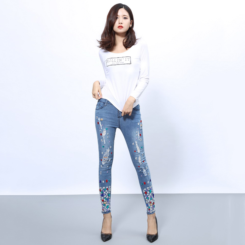 Jeans for Women high waist Ripped jeans Skinny Hole Denim Pencil Pants Stretch jeans women Plus Size Diamond Embroidered Hole XL