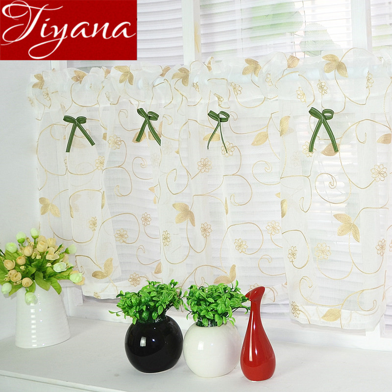 White Curtains Kitchen Cabinet Curtians For Living Room Door Window Screen Home Textiles Sheer Short Curtains