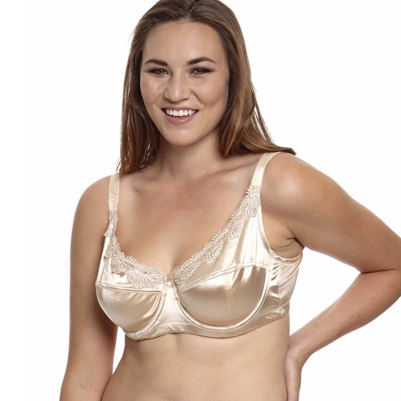MiaoErSiDai Damen Plus Size BH Ungefütterte Stickerei Satin Full Coverage BH 36 38 40 42 44 46 C D DD DDD E F.