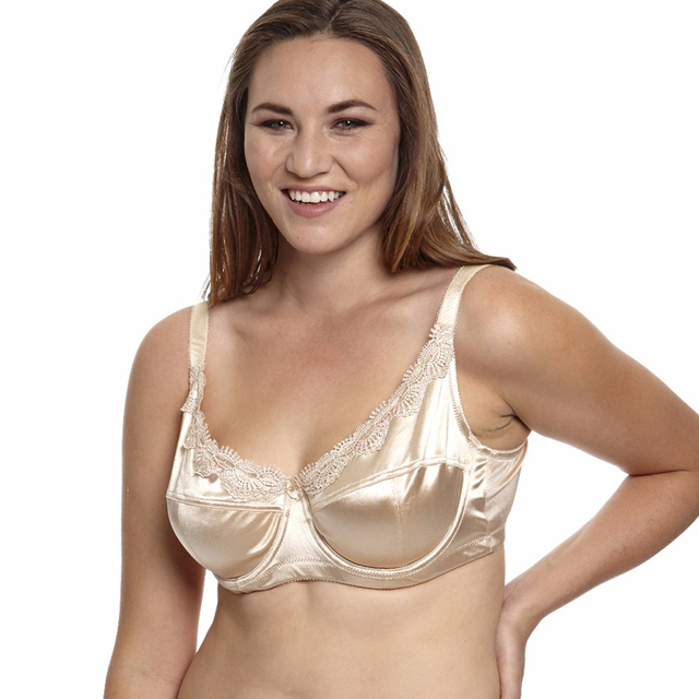MiaoErSiDai Women Plus Size Bra Unlined Embroidery Satin Full Coverage Bra  36 38 40 42 44 46 C D DD DDD E F f2503077e