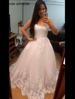 Vestido de Noiva sweetheart vestido de bola del grano Encaje Appliques vestidos de novia abiti da sposa 50 cm cola brautkleid