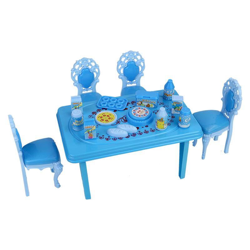 Dolls accessories pretend play toy furniture set for dollhouse kitchen kid table and chair miniature tableware plastic house toy doub k 1 12 wooden dollhouse furniture toy simulation miniature bed bedroom dolls house accessories pretend play toys for girls