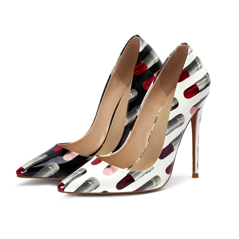 Pumps 12CM Heels Women Shoes Print Pointed-Toe Large-Size High-Thin New-Fashion Slip-On