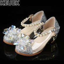 NEW Crystal Shoes Child Low-heeled Rhinestone Leather Shoes Girls Princess Children Pink Silver wedding Kids Dance Shoes 044