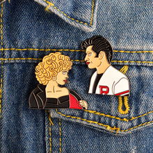 bd9d2ee87 2pcs/set Movie Grease Sandy and Danny Brooch and Pin Denim jacket Shirt  Collar Lapel Pins Buckle Badge Punk Goth Jewelry Gift