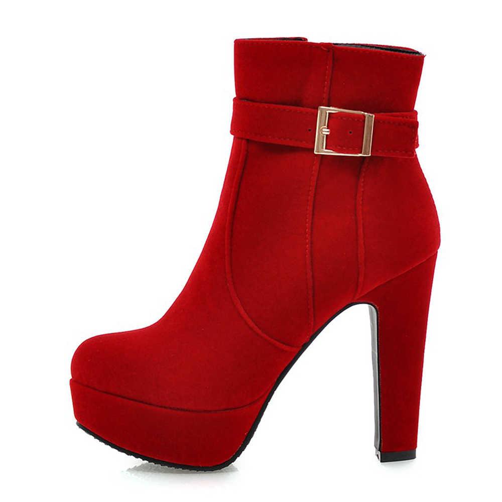 Meotina Bayan Botları Kadın Botları Kış Toka Süper Yüksek Topuk yarım çizmeler Fermuar Platformu Kalın Topuk Kısa Ayakkabı Bayan Kırmızı 33 -43
