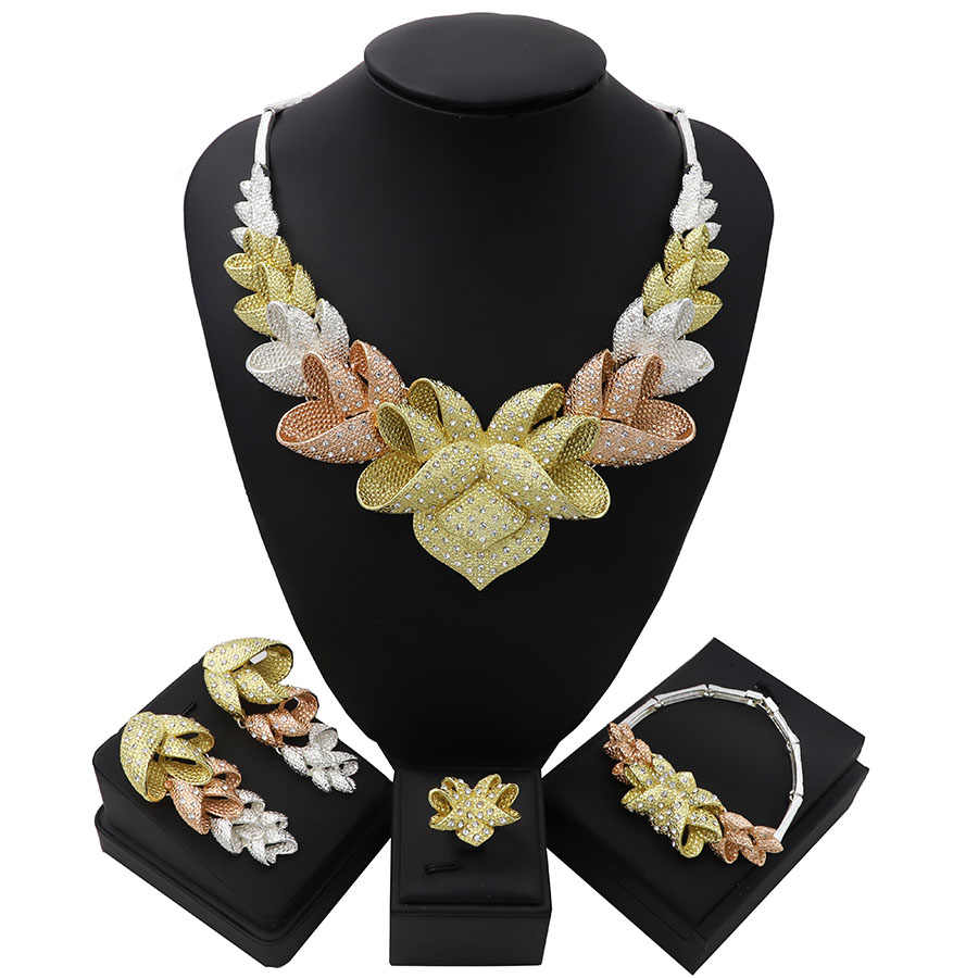 TSROUND Gorgeous Flower Shape Jewelry Sets For Women Dubai Gold Color Nigerian Bridal Three Tone
