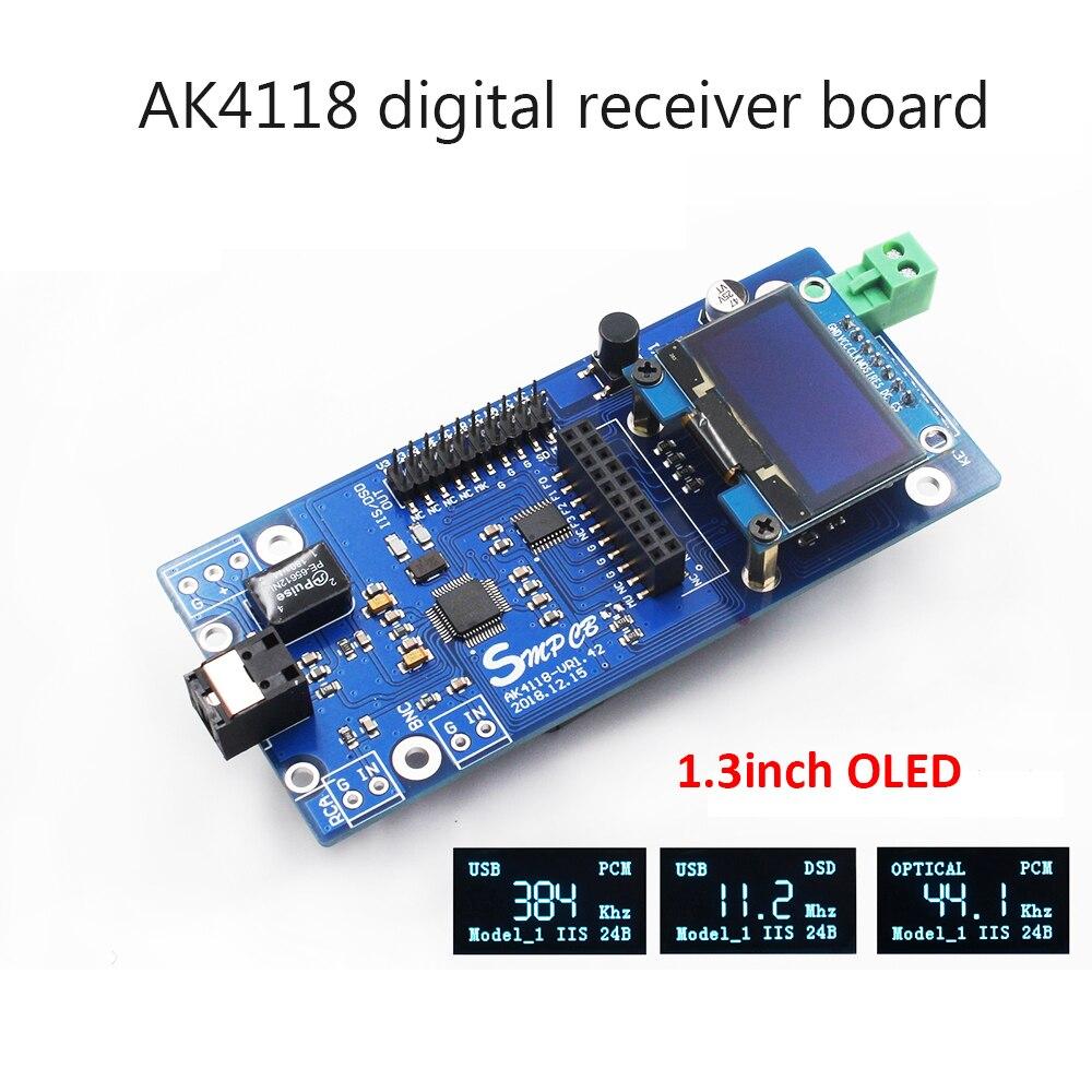 AK4118 carte récepteur numérique décodeur Audio DAC SPDIF à IIS Coaxial optique USB AES EBU entrée prise en charge XMOS Amanero 1.3 pouces OLED