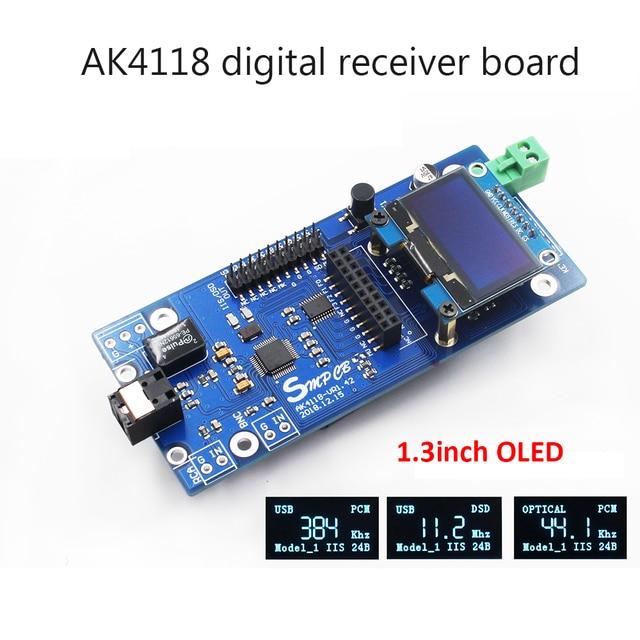 AK4118デジタル受信機ボードオーディオデコーダdac spdif iis同軸光学usb aes ebu入力サポートxmos amanero 1.3インチoled