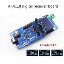 AK4118 odbiornik cyfrowy dekoder dźwięku DAC SPDIF do IIS koncentryczne optyczne wejście USB AES EBU obsługa XMOS Amanero 1.3 cala OLED