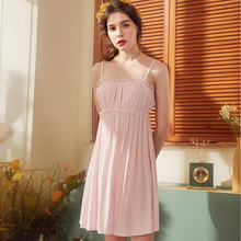 Wasteheart Women Fashion Pink Sexy Sleepwear Nightdress Lace Bow Nightwear Sleepshirts Luxury Nightgown Female Court Gown