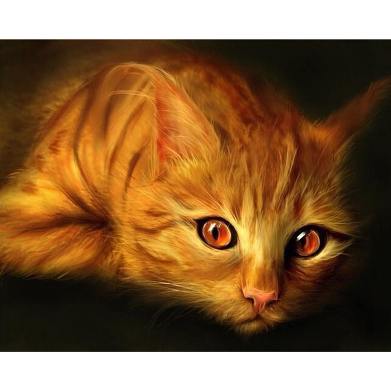 3D Diy Diamond Painting Cat With Cash Full Square Rhinestones Cross Stitch Crystal Mosaic Embroidery Home Decoration M011