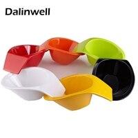 Japan Candy Color Melamine Bowl Creative Salad Bowl Irregular Boad Moon Shape Steamed Fruit Bowl Plastic