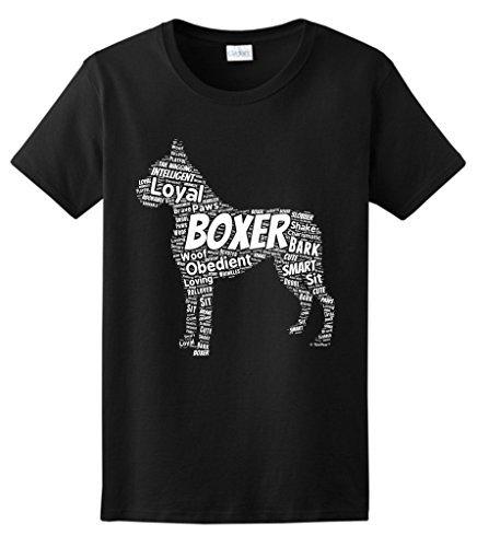 Short-Sleeve Regular O-Neck Womens Boxer Word Art Dog Puppy Owner Gift Tee