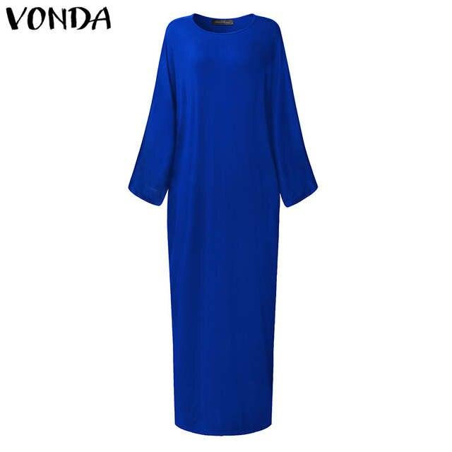 9d51339e26893 VONDA 2019 Spring Maternity Clothing Casual Loose Maxi Dress Women Long  Batwing Sleeve Ankle-length Elegant Pregnant Vestidos