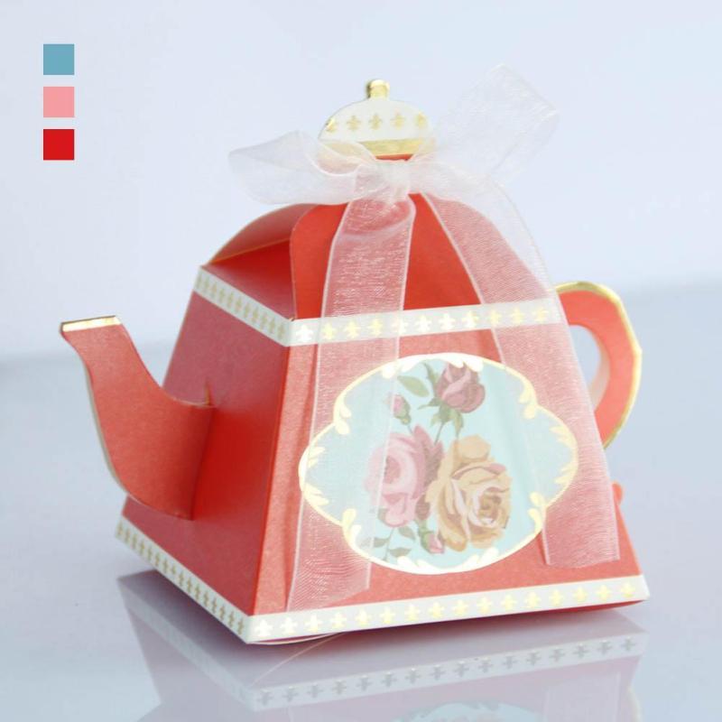 50 unids/lote tetera real caja del caramelo de los favores de la boda y regalos Candy Bar Retro artesanía caja de papel de la boda Chocolate caja V3