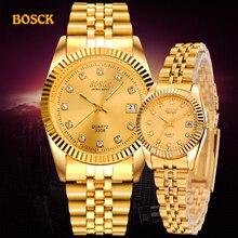 BOSCK модные парные наручные часы для мужчин s золотые Роскошные брендовые ЖЕНСКИЕ НАРЯДНЫЕ часы Reloj часы для мужчин Relogios Masculinos