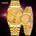 Bosck moda casais relógios de pulso dos homens ouro marca de luxo vestido feminino relógio reloj relógio masculino