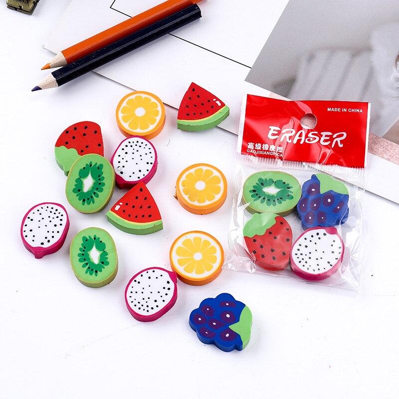 144pcs Kawaii Eraser Set Cute Fruit Erasers For Kids School Accessories Goma Rubber Pencils Eraser Stationary Supplie Novelty