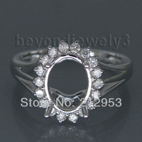 Jewelry Sets Vintage Oval 7x9mm 14Kt White Gold Natural Diamond Semi Mount Ring WU128