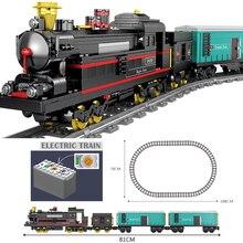 KAZI питание от электросети классический legoing городской поезд железнодорожные строительные блоки кирпичи Рождественский подарок игрушки для детей мальчиков и девочек