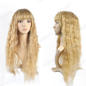 2013 new fashion long blonde curl women's made hair wigs