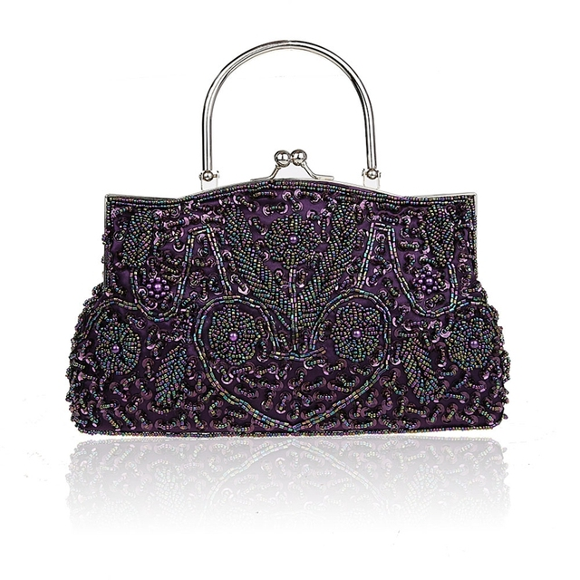 Purple Chinese Women's Beaded Sequined Wedding Evening Bag Clutch handbag Bride Party Purse Makeup Bag Free Shipping 1325-B